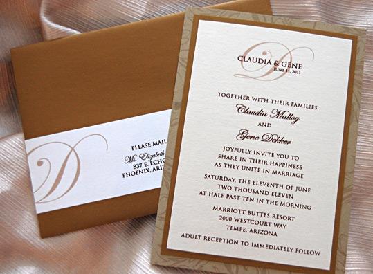 Brown Script Monogram Wedding Invitation