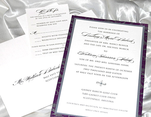 Purple Patterned Wedding Invitation