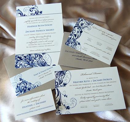 Royal Blue Filigree Wedding Invitation