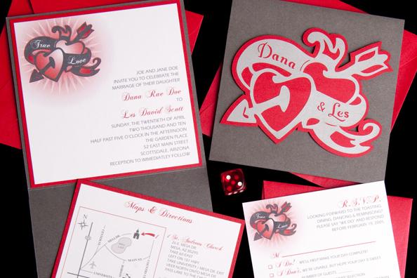 Hearts & Arrow Cutout Wedding Invitation