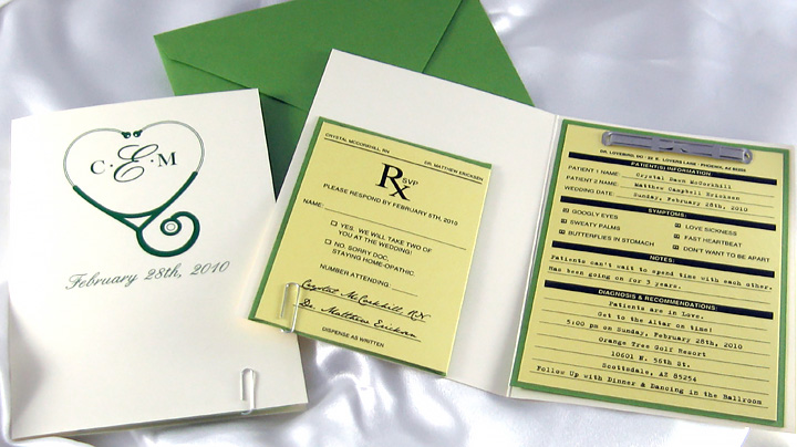Doctor Themed Patient File Wedding Invitation
