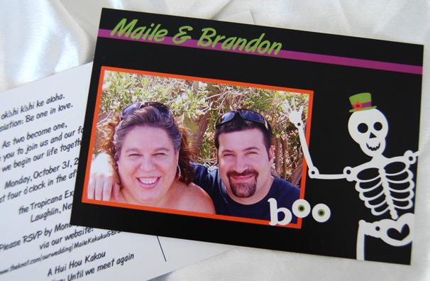 Halloween Postcard Wedding Invitation