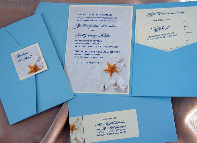 Sea Shells Beach Pocket Wedding Invitation