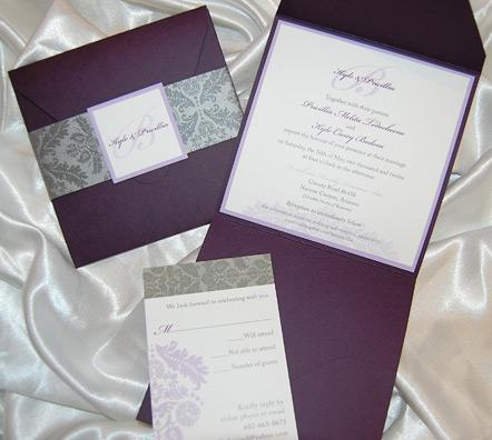 Damask Pattern Pocket Wedding Invitation