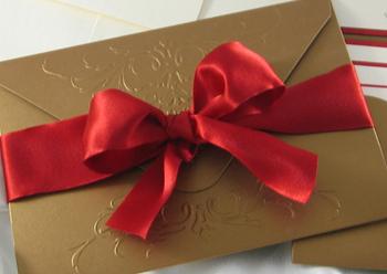 Embossed Red Ribbon Wedding Invitation