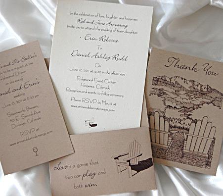 Drawn Mountains Pocket Card Wedding Invitation