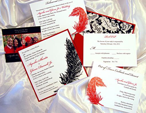Feather Pocket Card Wedding Invitation