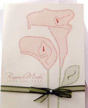 Love Note Outlined Lilies Wedding Invitation