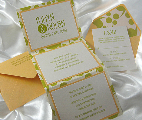 Green Dot Z-fold Wedding Invitation