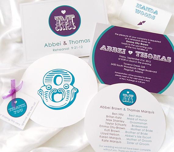 Purple Monogram Wedding Invitation