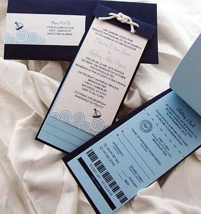 Matching Sail Away Ticket Wedding Invites
