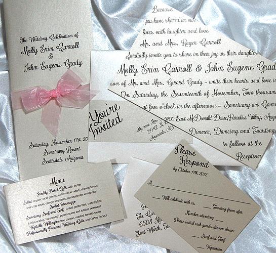 Slanted Script Flat Wedding Invitation