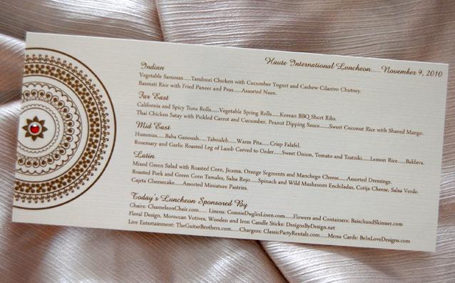 Indian Pattern Wedding Reception Menu