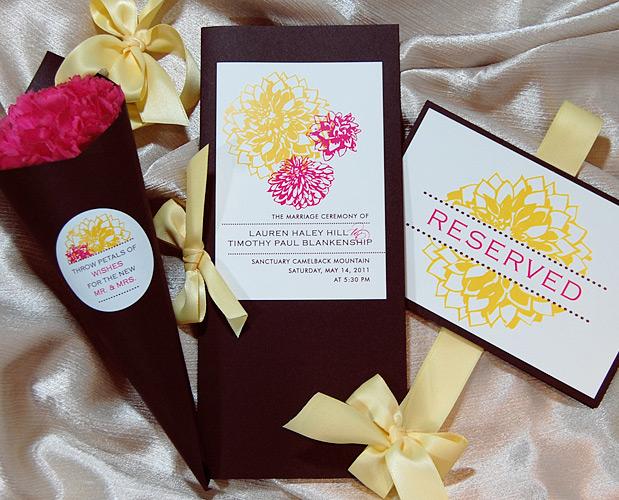 Dahlia Flower Wedding Reception Items 1/2
