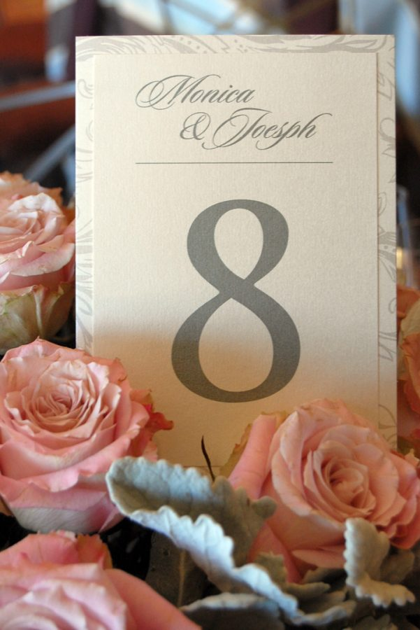 Layered Wedding Reception Table Number