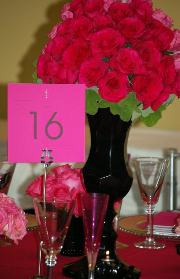 Hot Pink Table Numbers with Rhinestones