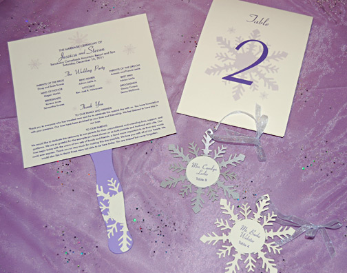 Purple Snowflake Reception Items