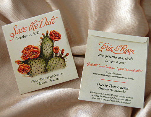 Cactus Seed Packet Save the Date