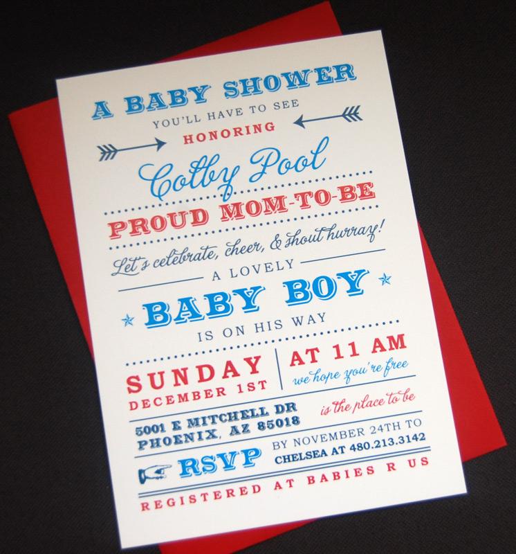 Modern Fonts Baby Shower Invitation