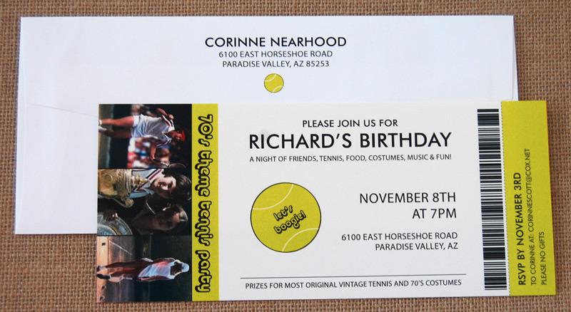 70's Tennis Birthday Party Invitation
