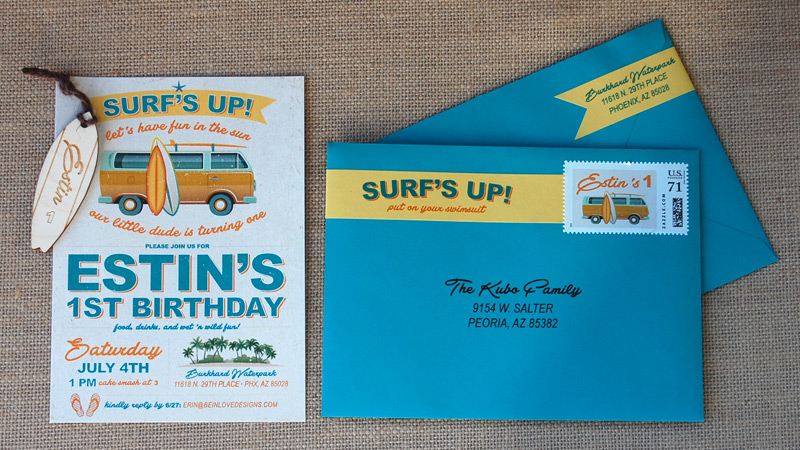 Surf's Up and VW Bus Birthday Party Invites with Wood Tag