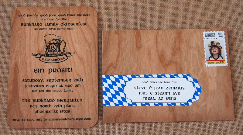 Wooden German Oktoberfest Party Invitation