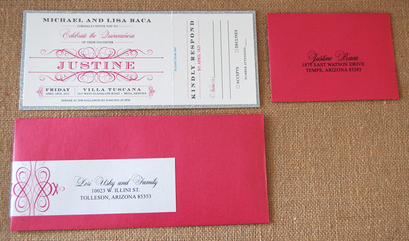 Glitter Pink Quinceanera Party Ticket Invitation