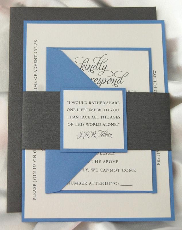 Blue and Grey Belly Band Wedding Invitation