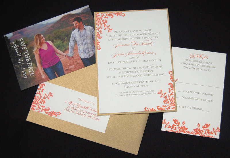 Gold and Coral Filigree Wedding Invitation