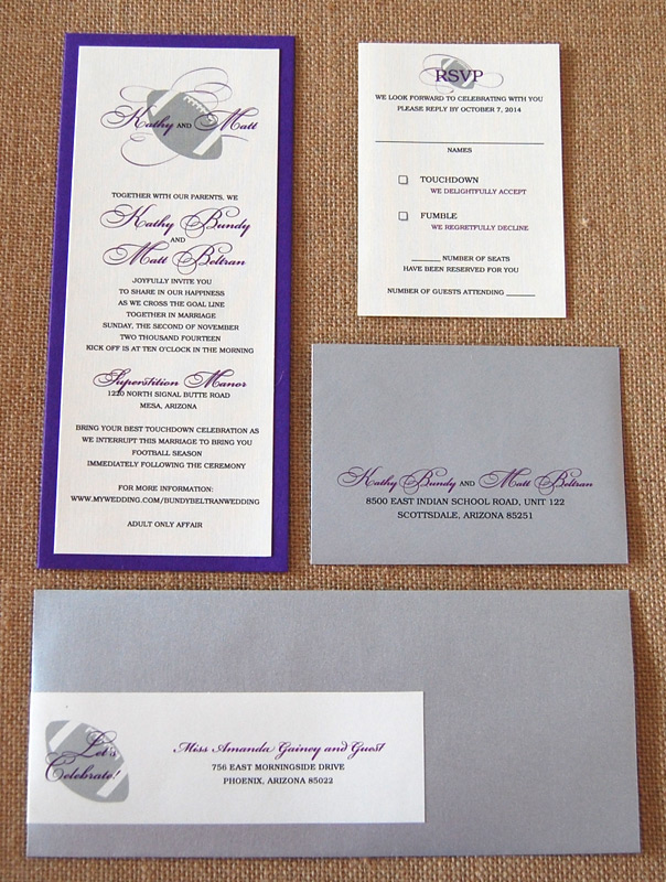 Layered Purple Football Wedding Invitation