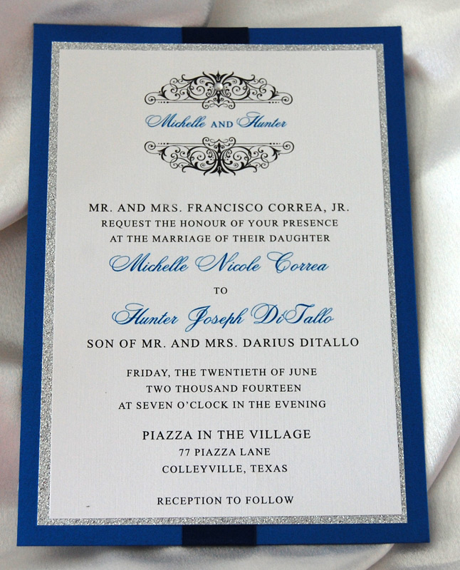 Cobalt Monogram Glitter Wedding Invitation 1 of 2