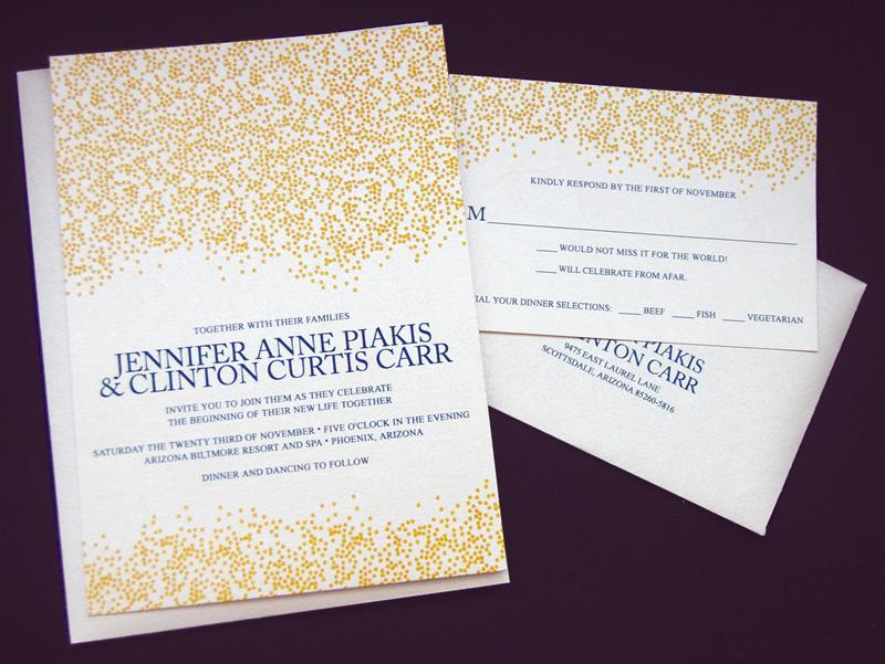 Gold Glitter and Dots Wedding Invitation