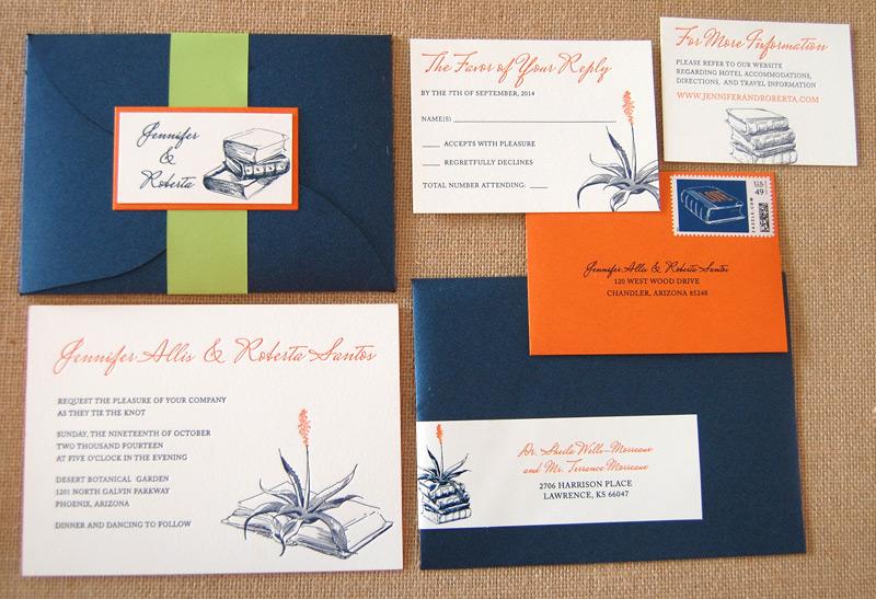 Library Themed Letterpress Invitation