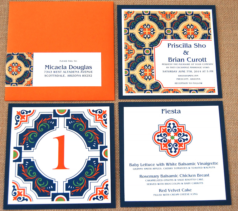 Mexican Tile Layered Wedding Invitation 2