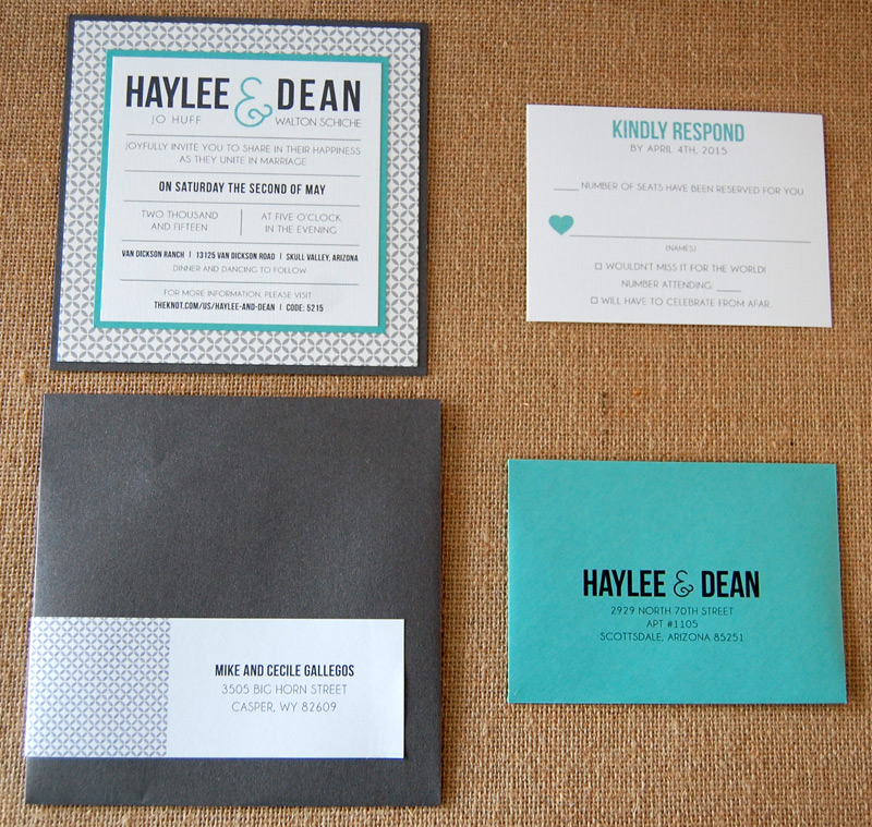 Patterned Square Typography Invitation