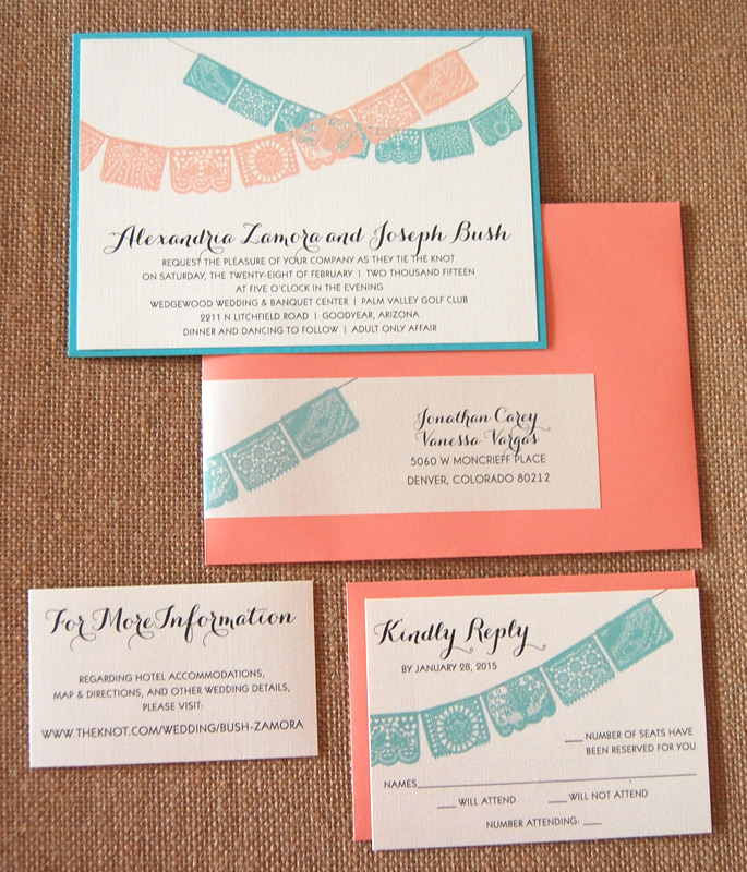 Coral and Blue Paper Lace Flag Invitation
