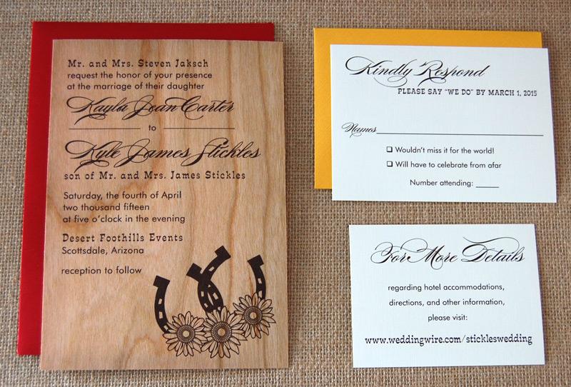 Flowers & Horseshoes Wooden Wedding Invite