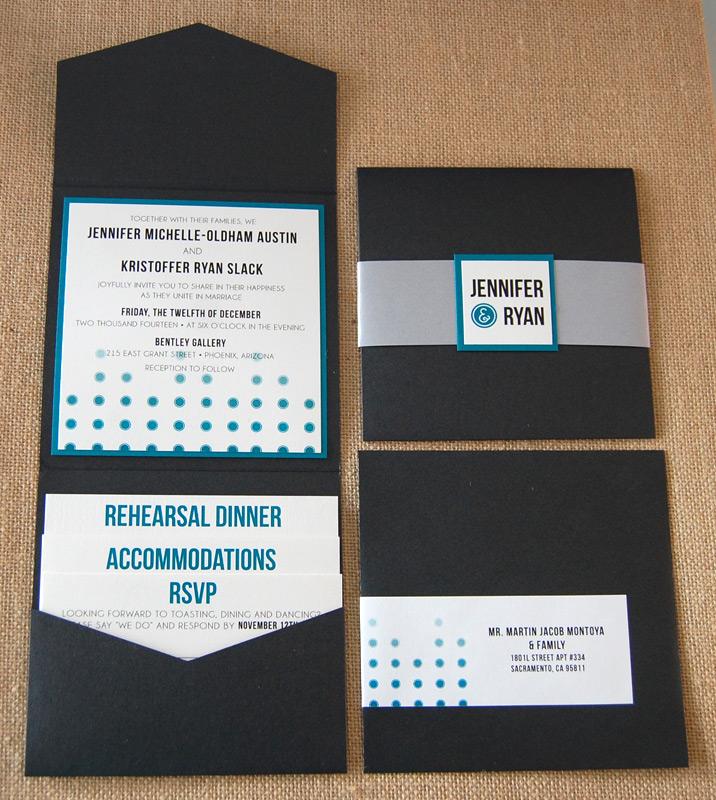 Black and Blue Dots Pocket Invitation