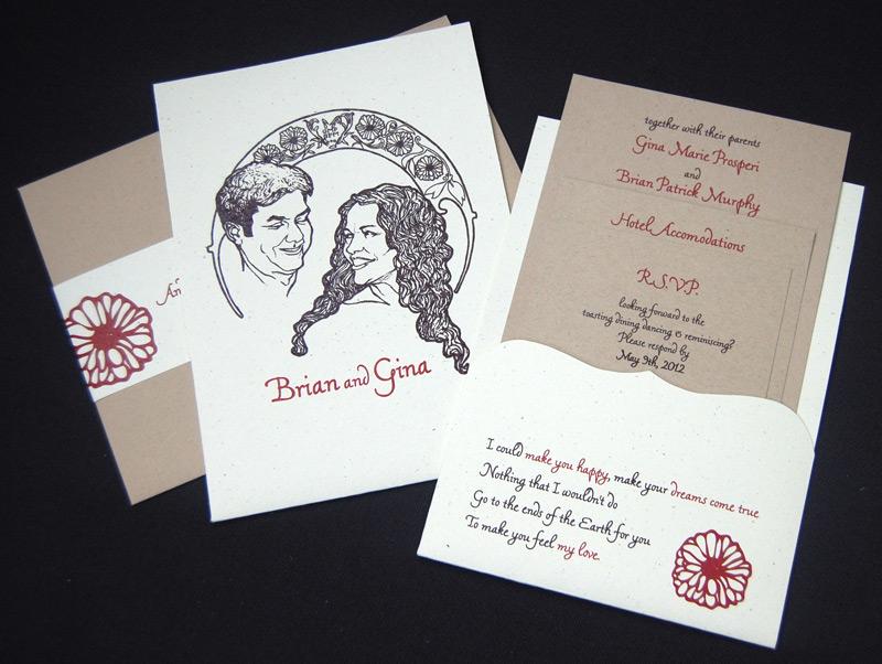 Hand Drawn Couple Wedding Invitation