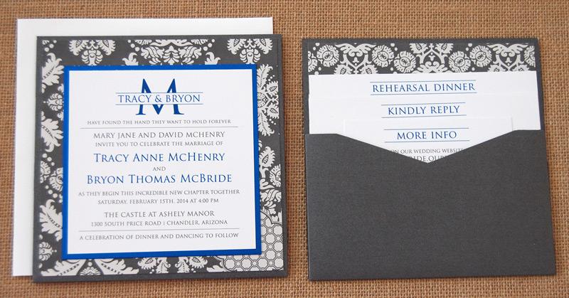 Scroll Pattern Square Wedding Invite