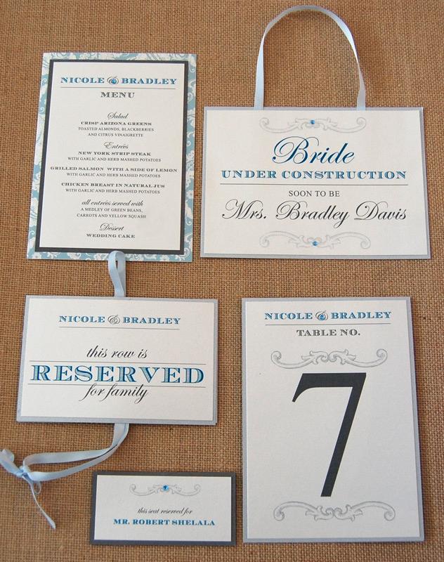 Blue Scroll Pattern Reception Items
