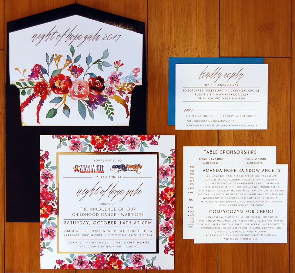 Square Floral Layered Charity Invite B Suite