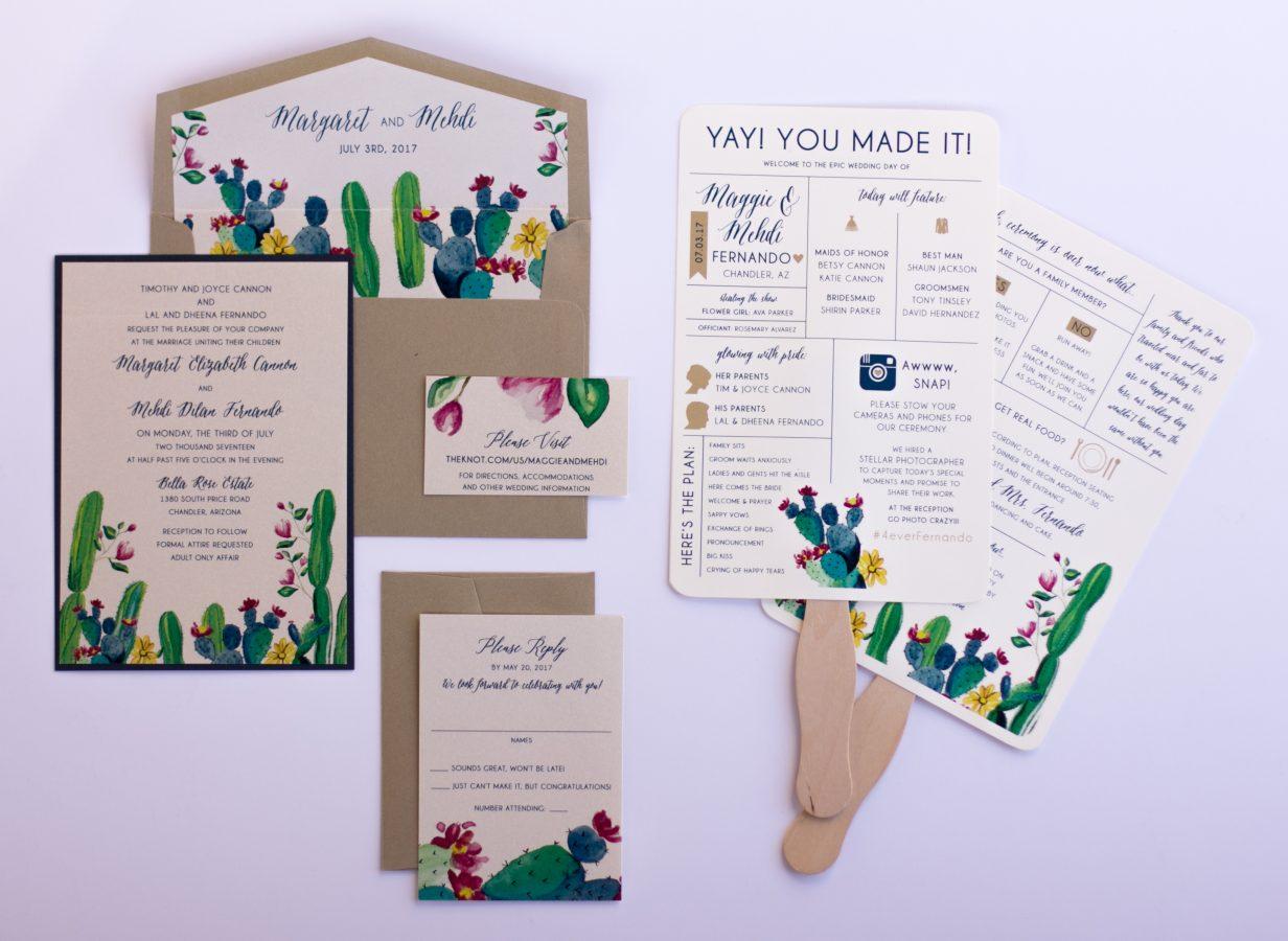 Vibrant Handpainted Cactus Invitation Suite